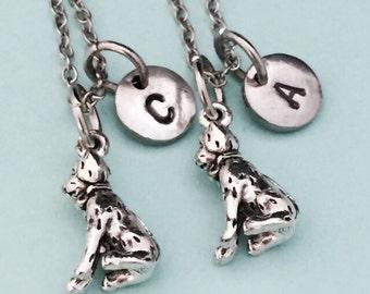Best friend necklace, dalmatian necklace, dalmatian charm, dog necklace, bff necklace, friend jewelry, personalize necklace, initial charm