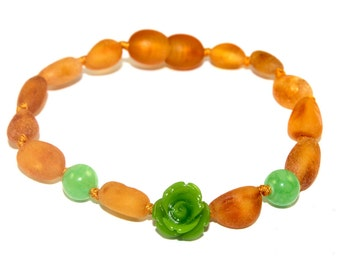 NATURAL BALTIC AMBER Baby Teething Anklet or Bracelet