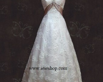 Vintage Inspired Grace Lace Overlay Empire Wedding Gown with Cap Sleeves and Sash