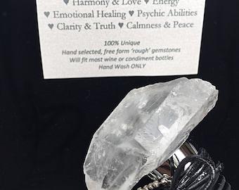 Gemstone Wine Stopper, Valentines Day Gift, Quartz Crystal Point Bottle Stopper, Wine Gift for him or her, Clear Quartz Crystal Point, Bar