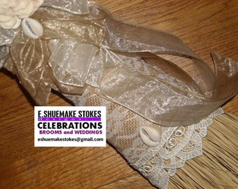RUSTIC BURLAP and LACE Accent Broom, Jumping the Broom