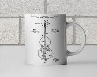 Double Bass Violin Patent Art Mug Gift, Violin Mug, Violin Player Gift, Violinist Gift, Music Teacher Gift, Musician Gift, Coffee Mug