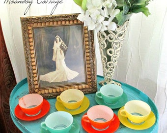 RaRe DuRaLeX CuP & SauCeR SeTS FRoM FRANCE!  SiX CoLoRFuL SeTS!