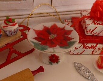 Christmas Poinsettia Porcelain Dollhouse Miniature Cake Stand in 1:12 Scale.