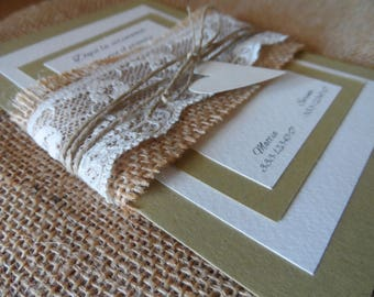 Participation in Country Chic wedding with canvas and lace, tied with string and heart in cardboard