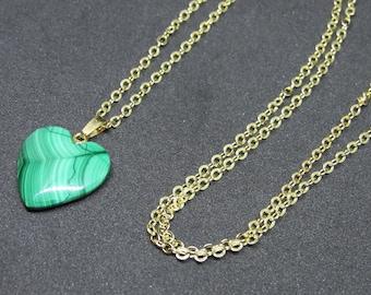 Malachite Heart Pendant Necklace (14K Gold Plated)