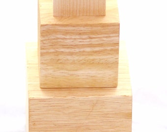 Nesting Blocks - 3 Solid Natural Unfinished Hard Wood Cubes 4 Inches, 3 Inches, and 2 Inches