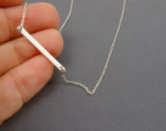 Sterling Silver Horizontal Bar Necklace // Delicate Layering Jewelry for Women // Gift for Friend on her Birthday