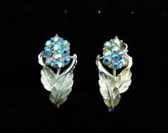 Vintage Earrings Blue Iridescent Rhinestone Flowers Silver Leaves Earrings