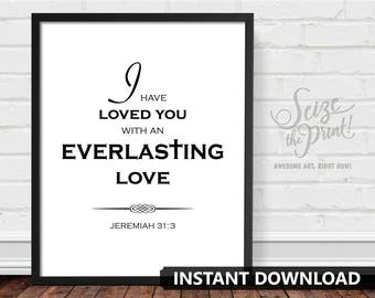 BIBLE VERSE Wall Art, Christmas Decorations, Jeremiah 31:3, I Have Loved You Everlasting Love, Biblical Decor, Bible Art, Easter Decorations