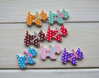 Wooden Buttons Puppy - 6 pcs