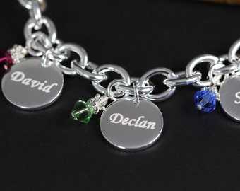 Name Bracelet for Grandmother - Personalized Christmas Gift for Grandma Jewelry - Engraved Birthstone Bracelet 925 Sterling Silver