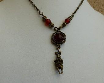 collar rabbit from alice in Wonderland carnelian