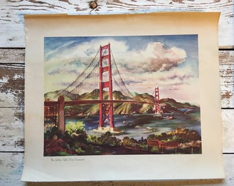 Vintage San Francisco/ Golden Gate Bridge/ Art/ watercolor
