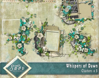Digital Scrapbooking Clusters set of 5 - WHISPERS OF DAWN premade embellishment png clusters to make immediate scrap page