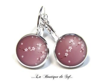 925 Sterling Silver: Stud Earrings with glass cabochons * flowers * (030218) 3 sizes