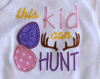 "Instant Download: Easter Egg Hunt ""This kid can HUNT"" 4x4 and 5x5 Machine Embroidery Design File"
