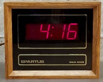 Vintage Spartus Red LED/Digital Wall/Office Clock w/Wood Housing Vintage Timepiece/Time Keeping Retro Home Decor.