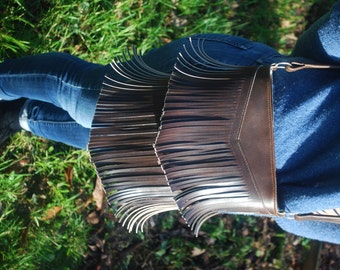 Handmade genuine leather fringe bag
