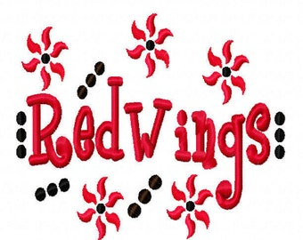 Red Wings Applique Machine Embroidery Design 4x4 7x5 10x6 Detroit Team Instant Download Basketball Football Baseball Softball Sport hockey