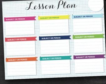 Lesson Plan - Printable Editable Lesson Plan Instant Download - Lesson Planner Teacher Organizer Student Homework Planner Homeschool Lesson