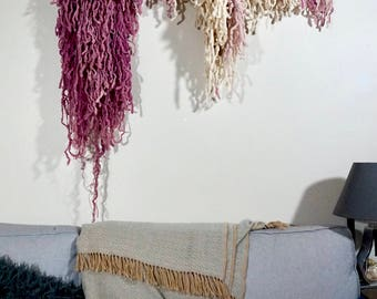 Large Wooly Wall Hanging, Pink and Natural