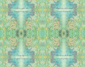 """INSPIRATIONAL Phrases KALEIDOSCOPE -Life is a gift to be enjoyed everyday Quilting Treasures 100% cotton fabric by the yard 36""""x43"""" (N529)"""
