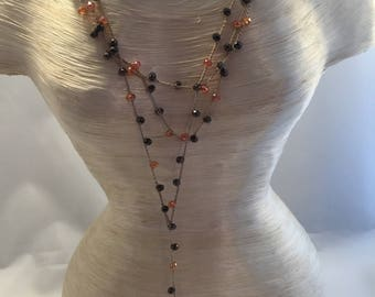 Long Milky cotton and glass beads
