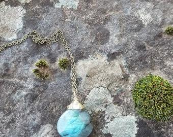 Labradorite Briolette Drop Necklace