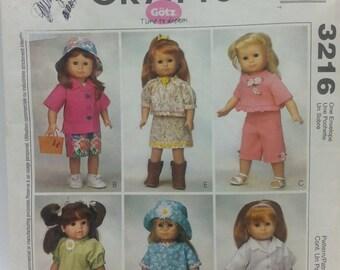 18 inch Doll Cloths Pattern Mccalls Crafts 3216 Uncut Pattern