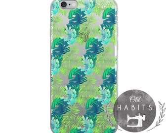 iPhone 6/6s, 6/6s Plus, 7/8, 7/8 Plus, X Case Pattern Seamless Tropical Handmade Green Blue Leaves Item