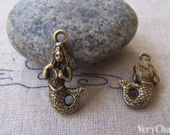 Bronze Mermaid Charms Ocean Pendants  8.5x22.5mm Set of 10 pcs A2334