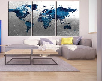 Blue silver canvas etsy silver world map push pin wall art canvas print 3 panel blue world map poster for large wall world map canvas art nursery wall art hr80 gumiabroncs Gallery