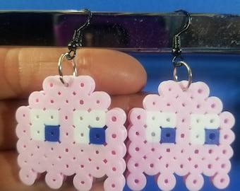 PacMan Ghost Pink (Speedy/Pinky) Perler Bead Earrings
