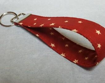 Red with stars key fob wristlet / key strap / key chain / key bracelet