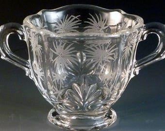 Fostoria Lido Etched Crystal Mini Individual Sugar 3 Inches Baroque Blank Clear Vintage Elegant Glass Glassware Etch