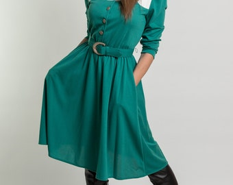 Vintage Teal Jersey Knit Belted Dress (Size Small/Medium)