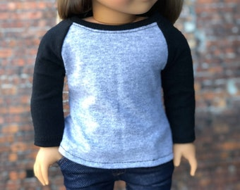 Doll Clothes | Trendy Gray and Black Long Sleeve Fitted BASEBALL TEE for 18 Inch Doll