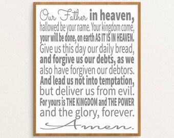 The Lord's Prayer, The Lords Prayer, Lords Prayer Art, Lords Prayer Print, Printable Art, Scripture Art, Scripture Typographic Print, ESV