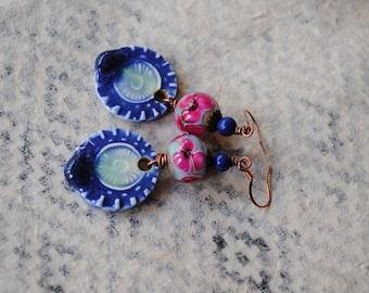 Blue Ceramic Earrings, Lampwork Earrings, Floral Earrings, Royal Blue Earrings, Teardrop Earrings, Boho Earrings