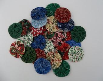 "2"" Fabric Yo-Yo's ,25 Christmas Craft Yo-Yo's, Applique Projects, Wreath's, Hair Bow Yo-Yo's, Doily Making, Arts and Crafts Additions"