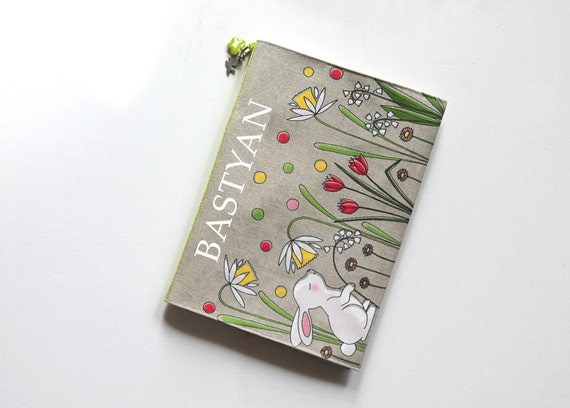 "Protects health in natural linen illustrated ""little white rabbit"" book"