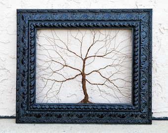 Framed wall art / Rusty steel wire tree sculpture  Unique Art Object Large Tree Abstract .. Wire tree in ornate Victorian style black frame