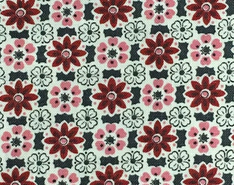 Cotton Fabric / Red abd Pink Floral Cotton Fabric / Vintage Cotton Fabric / Floral Cotton Fabric / Red Floral Cotton Fabric / Retro Floral