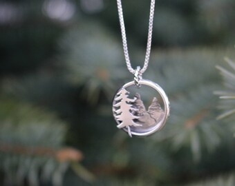 Hand-Crafted Sterling Silver Pine Tree Mountain Necklace