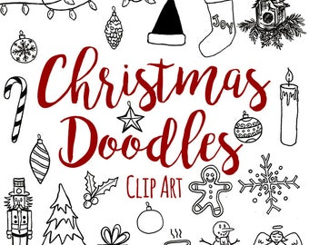 Pen and Ink Christmas Doodle Clip Art, Custom Invitations Clip Art, Digital Doodle Christmas Clip Art, Christmas Clip Art, Doodle Clip Art
