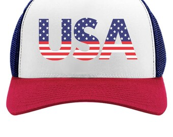 American USA Flag - 4th of July Independence Day - Trucker Hat Mesh Cap