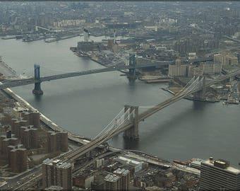 Poster, Many Sizes Available; Brooklyn Bridge And Manhattan Bridge  1982