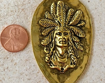 Indian Chief with Headdress Shiny Gold Pewter Pendant