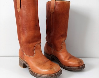 Vintage campus boots, stacked heel 1970s 1980s boots,  size 6